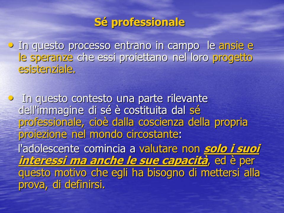 Sé professionale In questo processo entrano in campo le ansie e le speranze che essi proiettano nel loro progetto esistenziale.