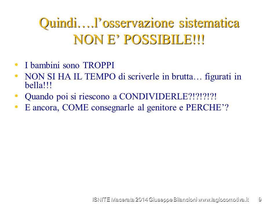 Quindi….l'osservazione sistematica NON E' POSSIBILE!!!