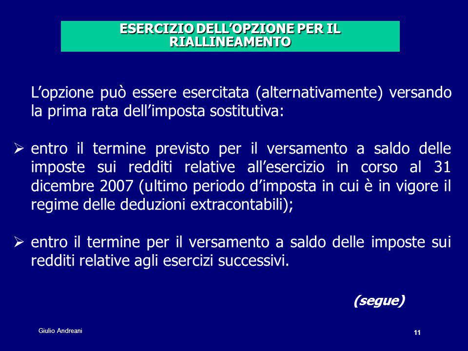 ESERCIZIO DELL'OPZIONE PER IL RIALLINEAMENTO