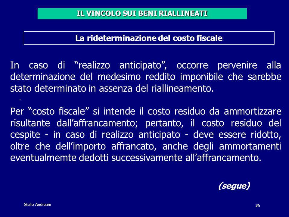 IL VINCOLO SUI BENI RIALLINEATI La rideterminazione del costo fiscale