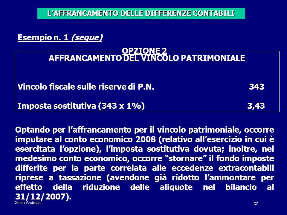 OPZIONE 2 AFFRANCAMENTO DEL VINCOLO PATRIMONIALE