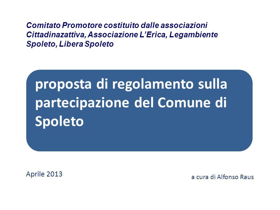 proposta di regolamento sulla partecipazione del Comune di Spoleto