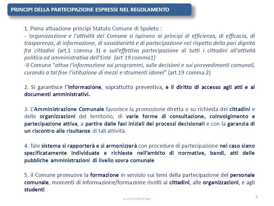 PRINCIPI DELLA PARTECIPAZIONE ESPRESSI NEL REGOLAMENTO