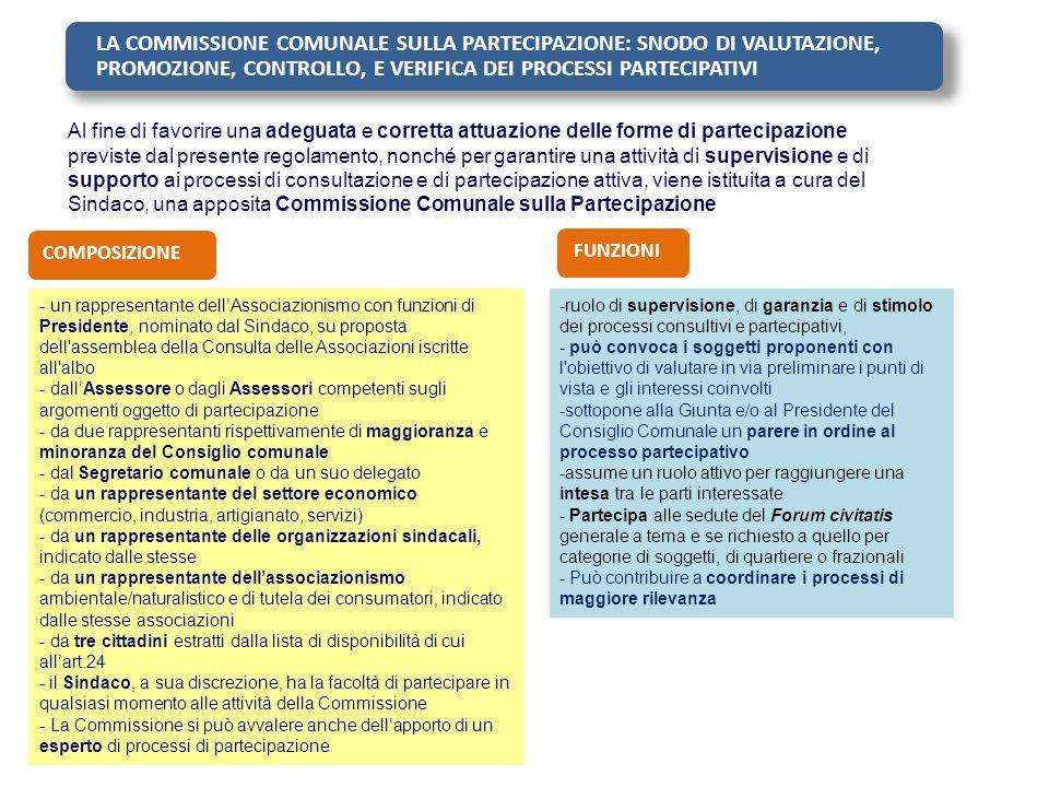 LA COMMISSIONE COMUNALE SULLA PARTECIPAZIONE: SNODO DI VALUTAZIONE, PROMOZIONE, CONTROLLO, E VERIFICA DEI PROCESSI PARTECIPATIVI