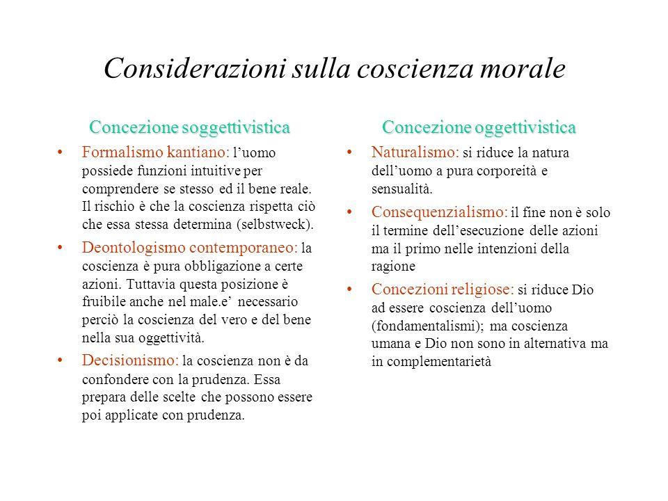 Considerazioni sulla coscienza morale