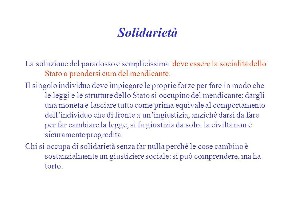 Solidarietà La soluzione del paradosso è semplicissima: deve essere la socialità dello Stato a prendersi cura del mendicante.