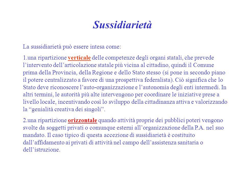 Sussidiarietà La sussidiarietà può essere intesa come: