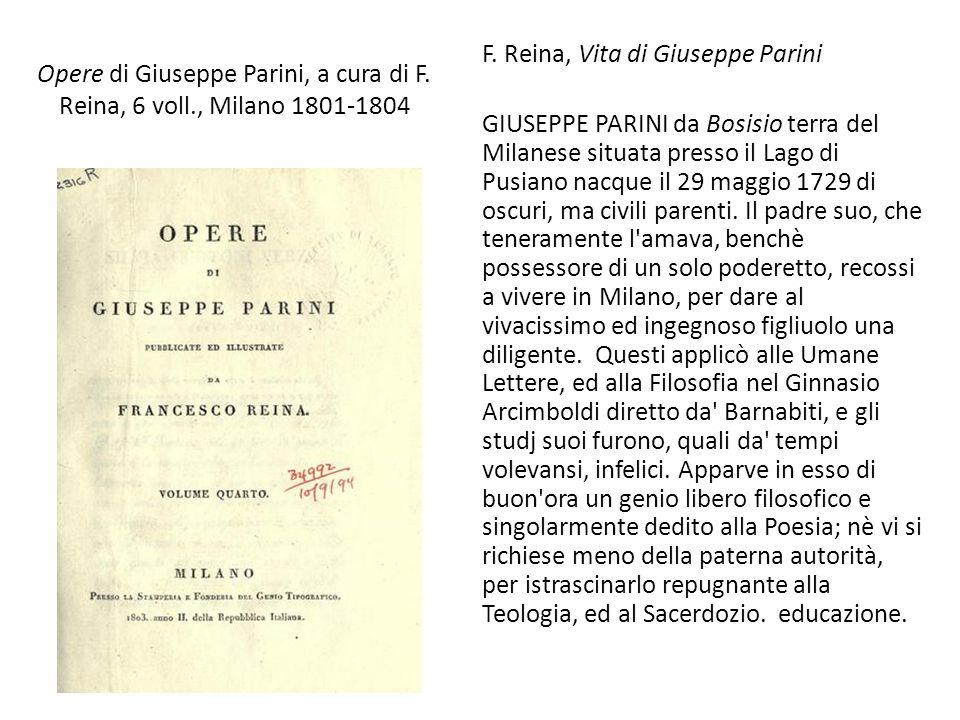 Opere di Giuseppe Parini, a cura di F. Reina, 6 voll