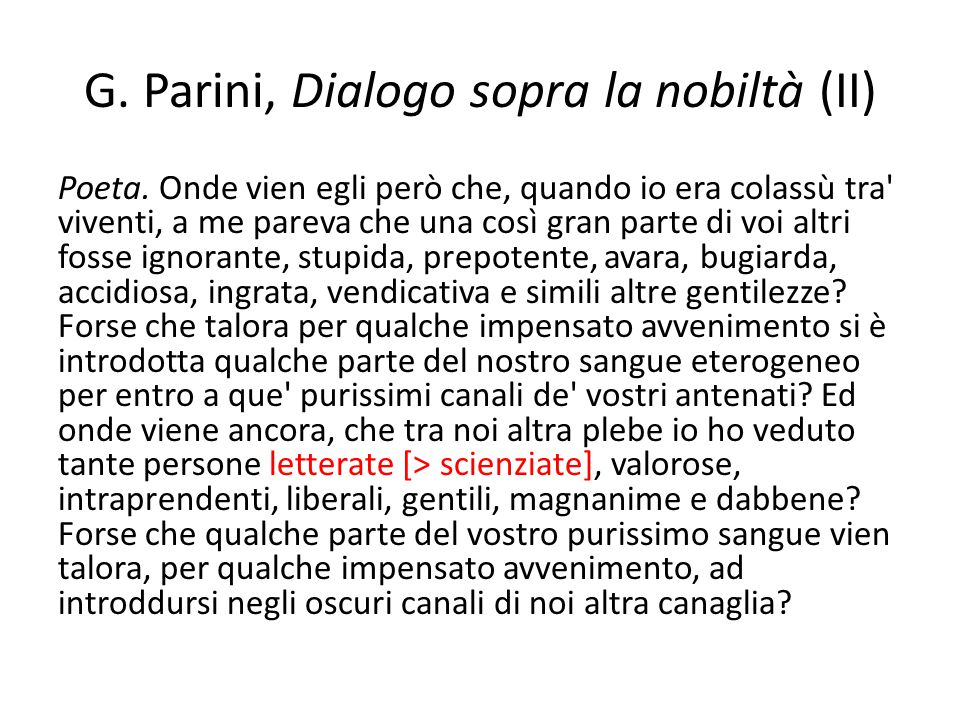 G. Parini, Dialogo sopra la nobiltà (II)