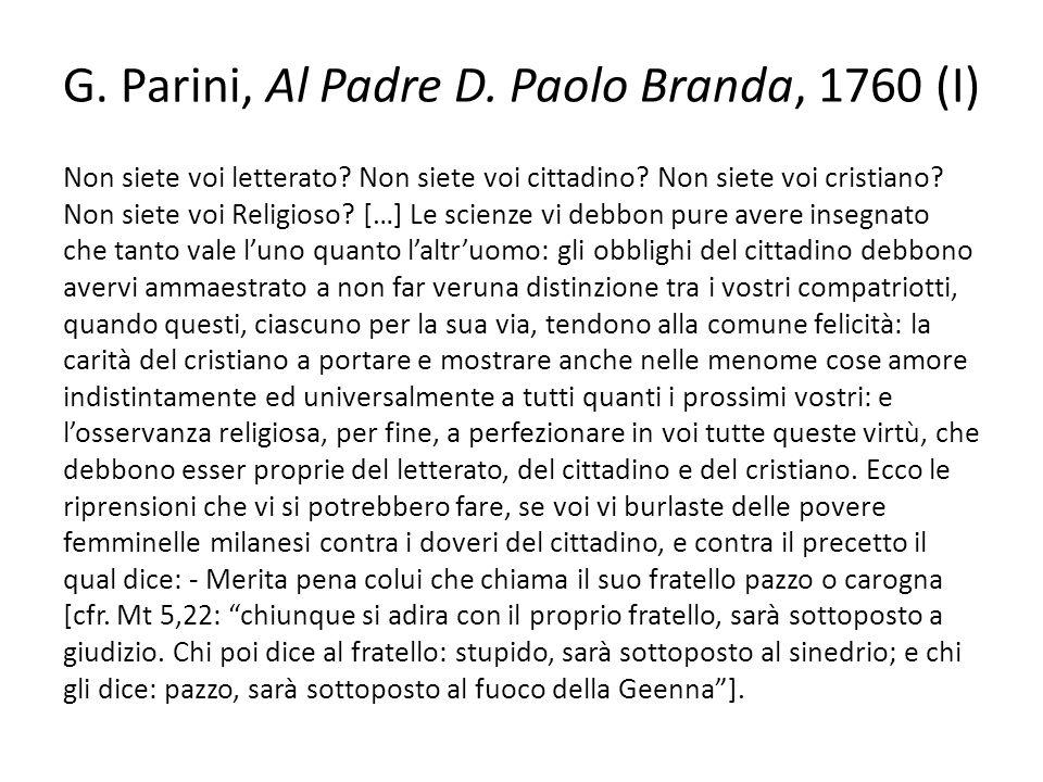 G. Parini, Al Padre D. Paolo Branda, 1760 (I)