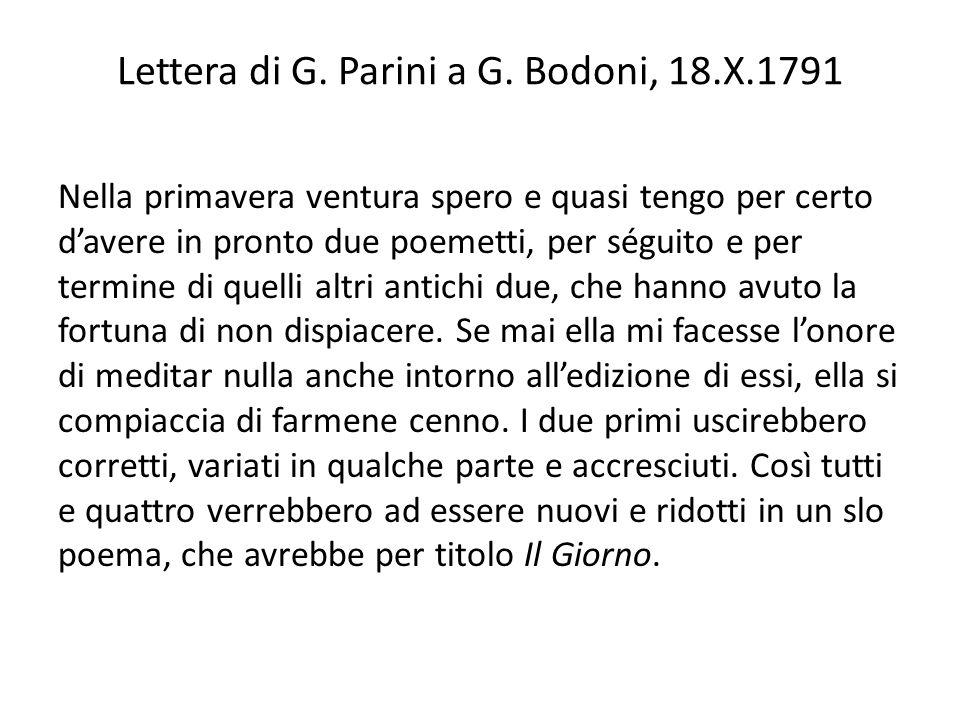 Lettera di G. Parini a G. Bodoni, 18.X.1791