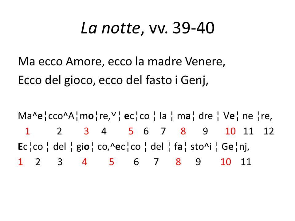 La notte, vv. 39-40 Ma ecco Amore, ecco la madre Venere,