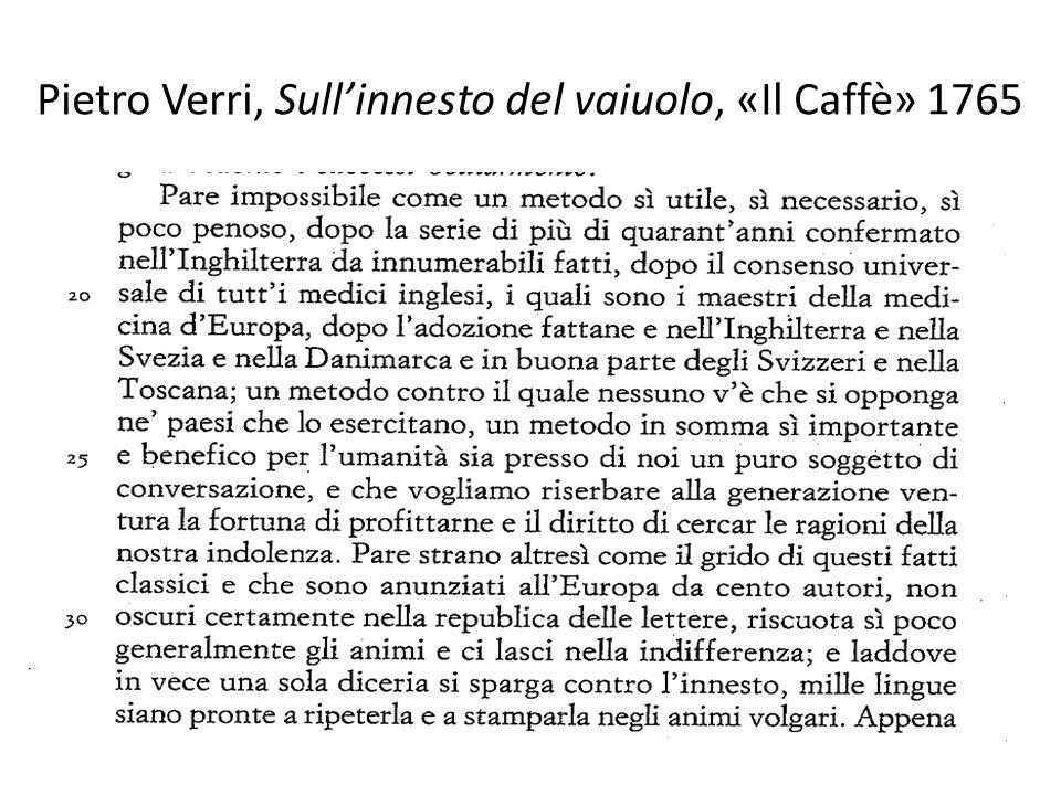 Pietro Verri, Sull'innesto del vaiuolo, «Il Caffè» 1765