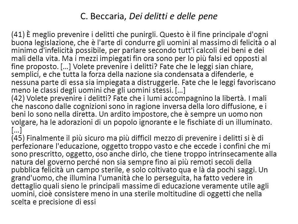 C. Beccaria, Dei delitti e delle pene