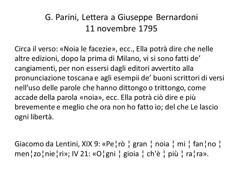 G. Parini, Lettera a Giuseppe Bernardoni 11 novembre 1795