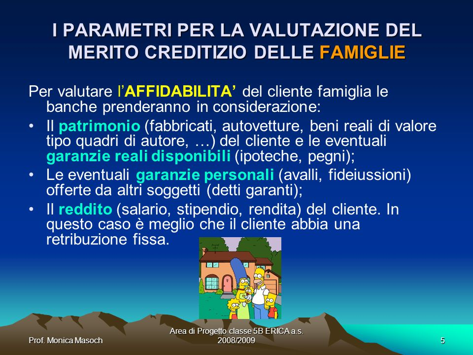 I PARAMETRI PER LA VALUTAZIONE DEL MERITO CREDITIZIO DELLE FAMIGLIE