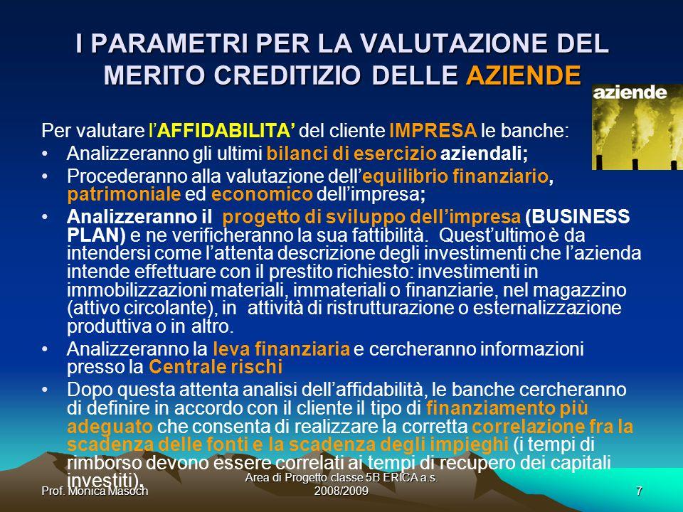 I PARAMETRI PER LA VALUTAZIONE DEL MERITO CREDITIZIO DELLE AZIENDE