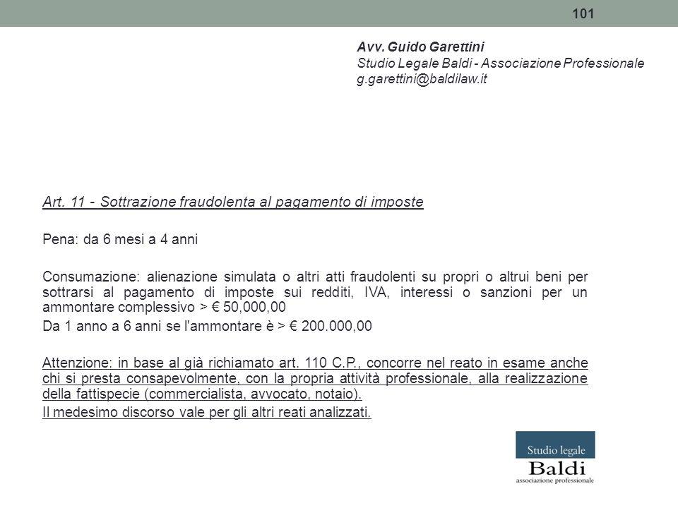 Art. 11 - Sottrazione fraudolenta al pagamento di imposte