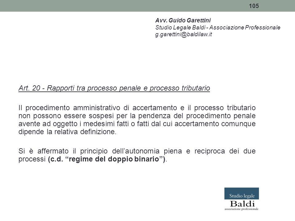 Art. 20 - Rapporti tra processo penale e processo tributario