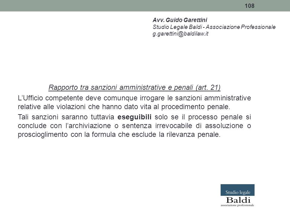Rapporto tra sanzioni amministrative e penali (art. 21)