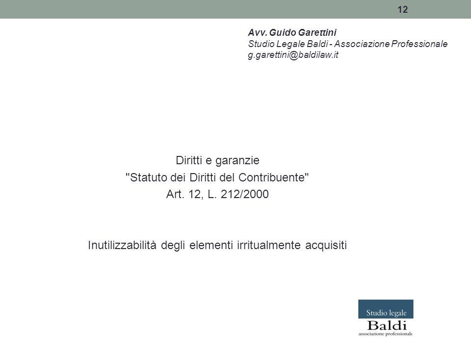 Statuto dei Diritti del Contribuente Art. 12, L. 212/2000