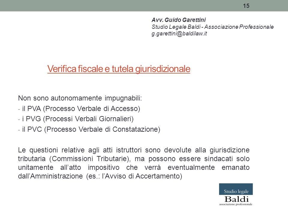 Verifica fiscale e tutela giurisdizionale