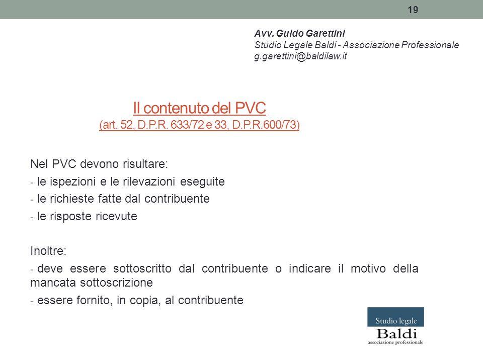 Il contenuto del PVC (art. 52, D.P.R. 633/72 e 33, D.P.R.600/73)