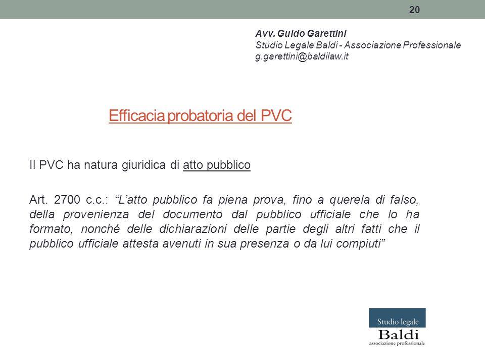 Efficacia probatoria del PVC