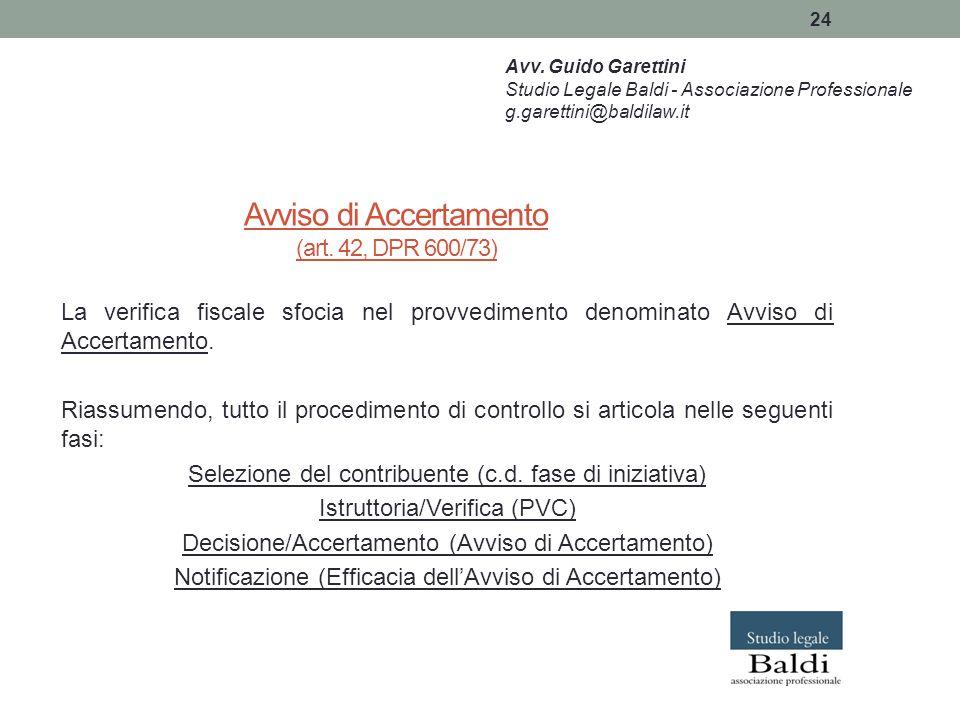 Avviso di Accertamento (art. 42, DPR 600/73)