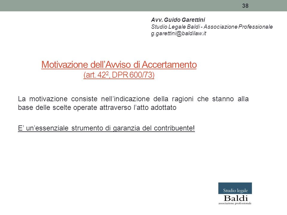 Motivazione dell'Avviso di Accertamento (art. 422, DPR 600/73)