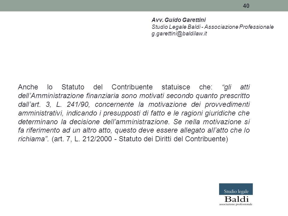 Avv. Guido Garettini Studio Legale Baldi - Associazione Professionale. g.garettini@baldilaw.it.