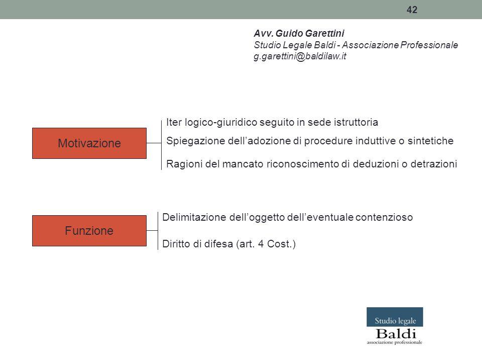 Motivazione Funzione Iter logico-giuridico seguito in sede istruttoria