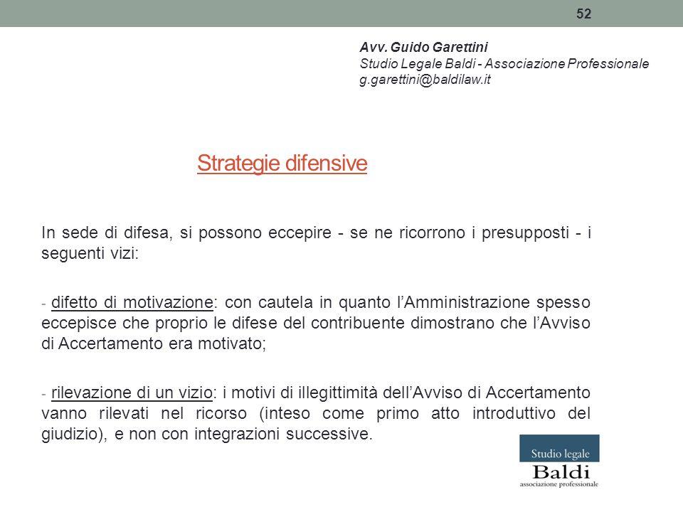 Avv. Guido Garettini Studio Legale Baldi - Associazione Professionale. g.garettini@baldilaw.it. Strategie difensive.