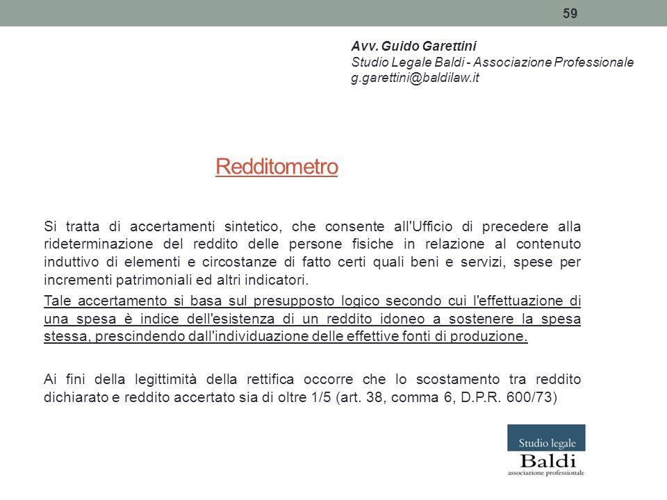 Avv. Guido Garettini Studio Legale Baldi - Associazione Professionale. g.garettini@baldilaw.it. Redditometro.