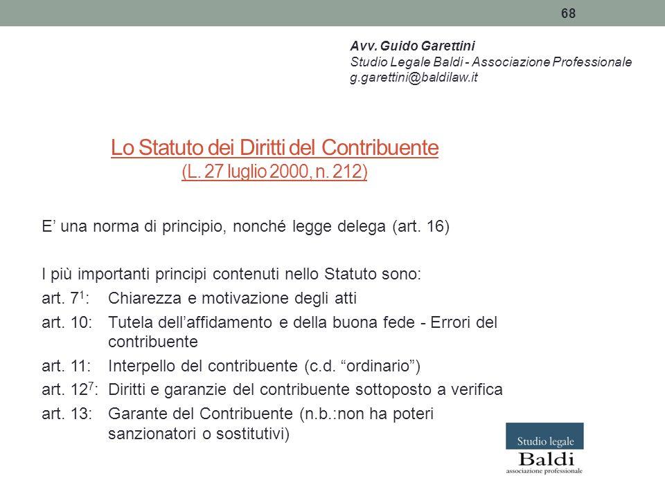 Lo Statuto dei Diritti del Contribuente (L. 27 luglio 2000, n. 212)