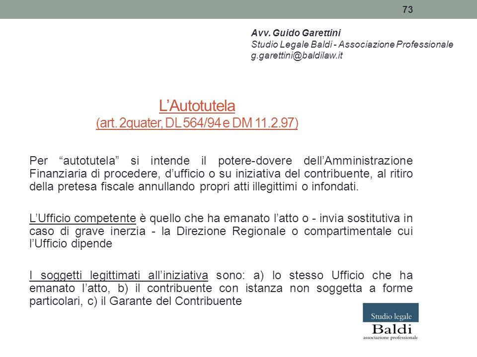 L'Autotutela (art. 2quater, DL 564/94 e DM 11.2.97)