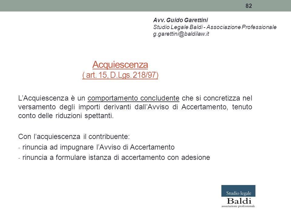 Acquiescenza ( art. 15, D.Lgs. 218/97)