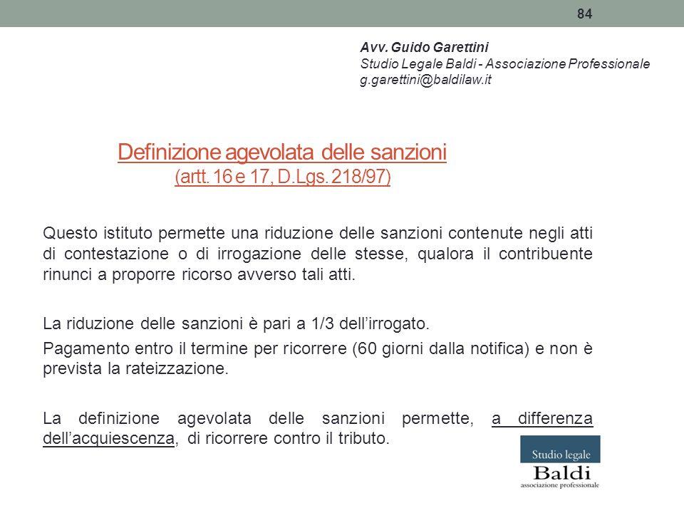 Definizione agevolata delle sanzioni (artt. 16 e 17, D.Lgs. 218/97)
