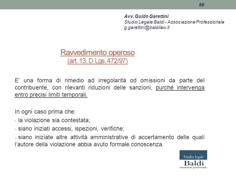Ravvedimento operoso (art. 13, D.Lgs. 472/97)