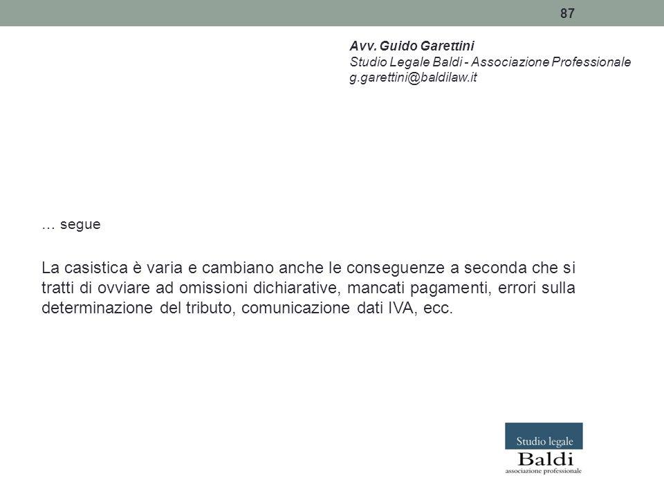 Avv. Guido Garettini Studio Legale Baldi - Associazione Professionale. g.garettini@baldilaw.it. … segue.