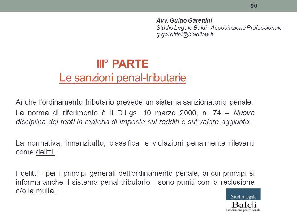 III° PARTE Le sanzioni penal-tributarie