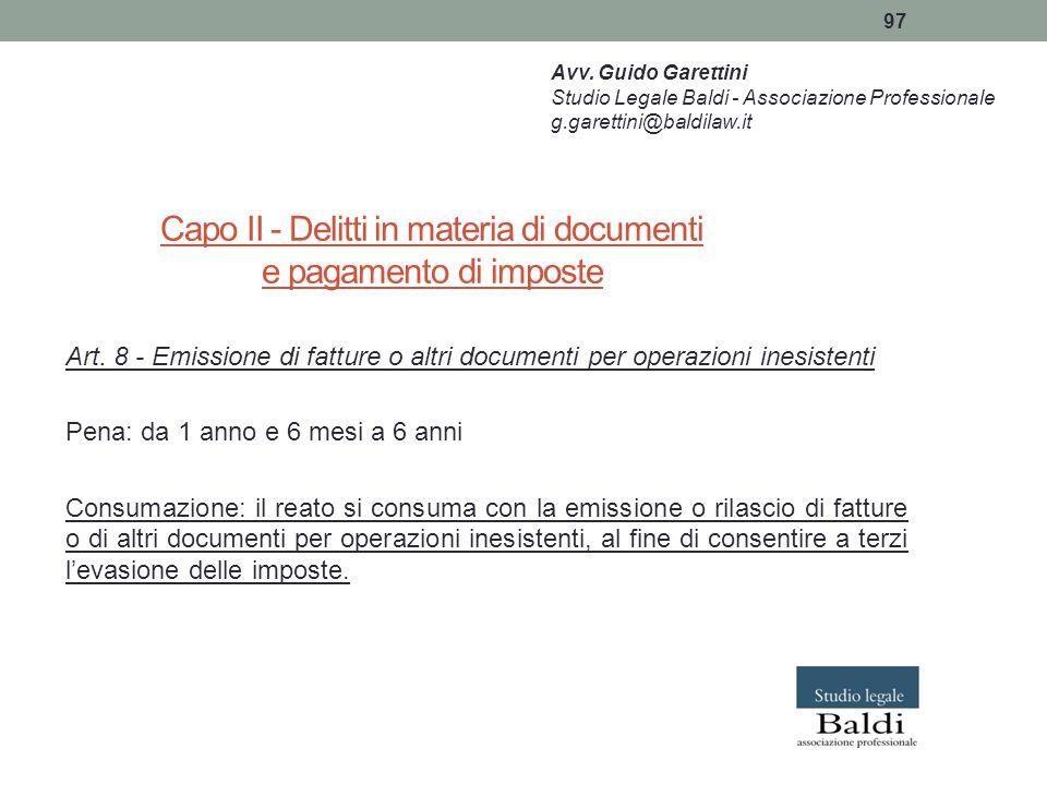 Capo II - Delitti in materia di documenti e pagamento di imposte