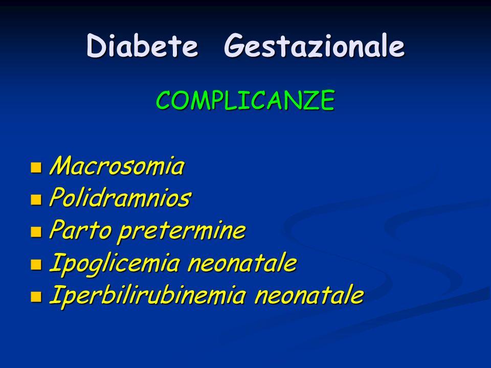 Diabete Gestazionale COMPLICANZE Macrosomia Polidramnios
