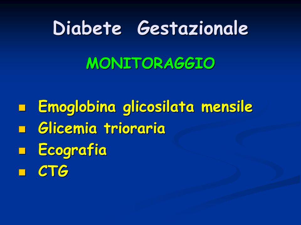 Diabete Gestazionale MONITORAGGIO Emoglobina glicosilata mensile