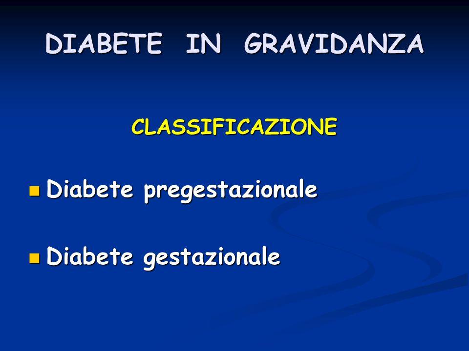 DIABETE IN GRAVIDANZA Diabete pregestazionale Diabete gestazionale
