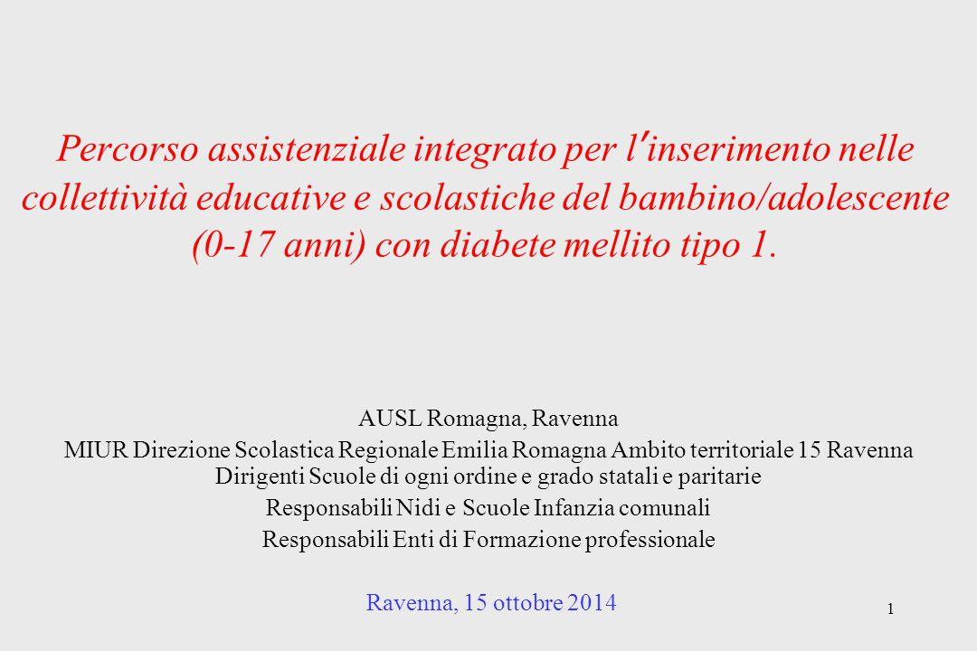 Percorso assistenziale integrato per l'inserimento nelle collettività educative e scolastiche del bambino/adolescente (0-17 anni) con diabete mellito tipo 1.