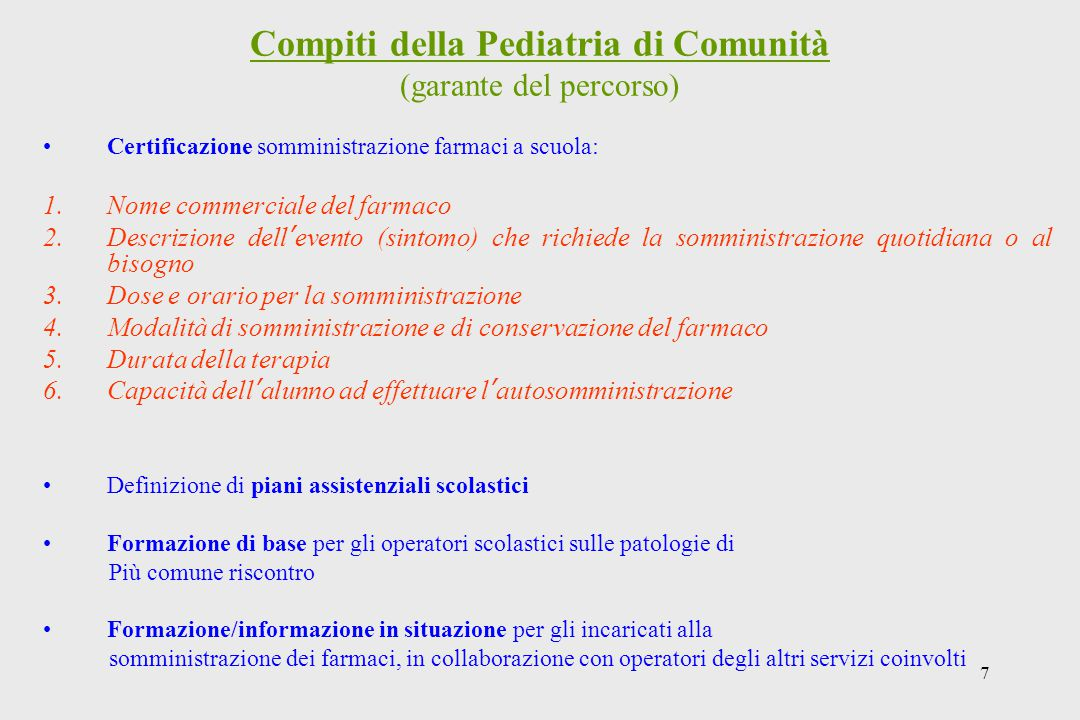 Compiti della Pediatria di Comunità (garante del percorso)