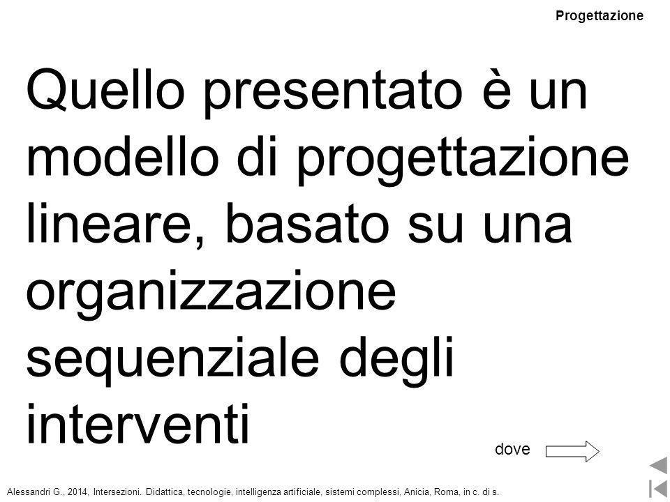 Progettazione Quello presentato è un modello di progettazione lineare, basato su una organizzazione sequenziale degli interventi.