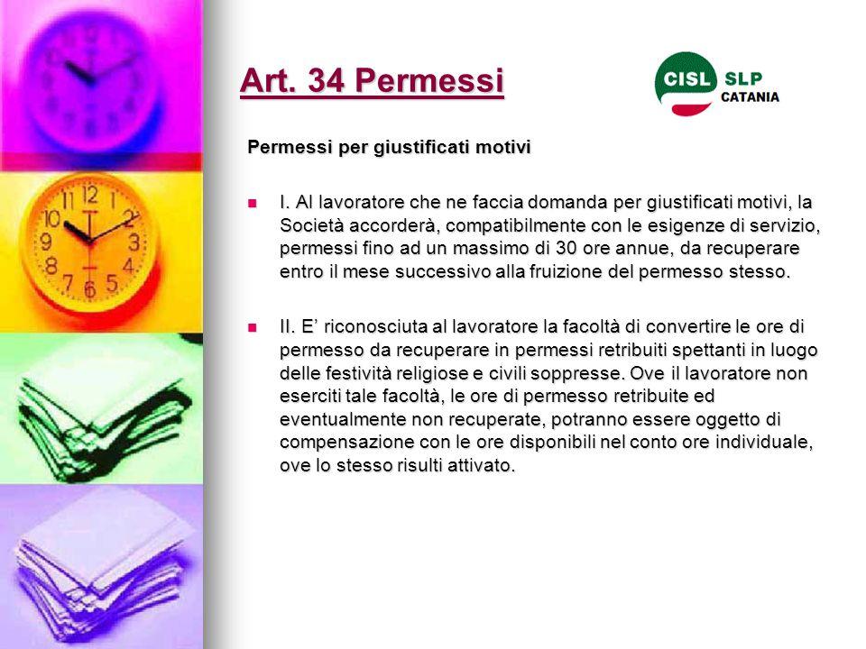Art. 34 Permessi Permessi per giustificati motivi