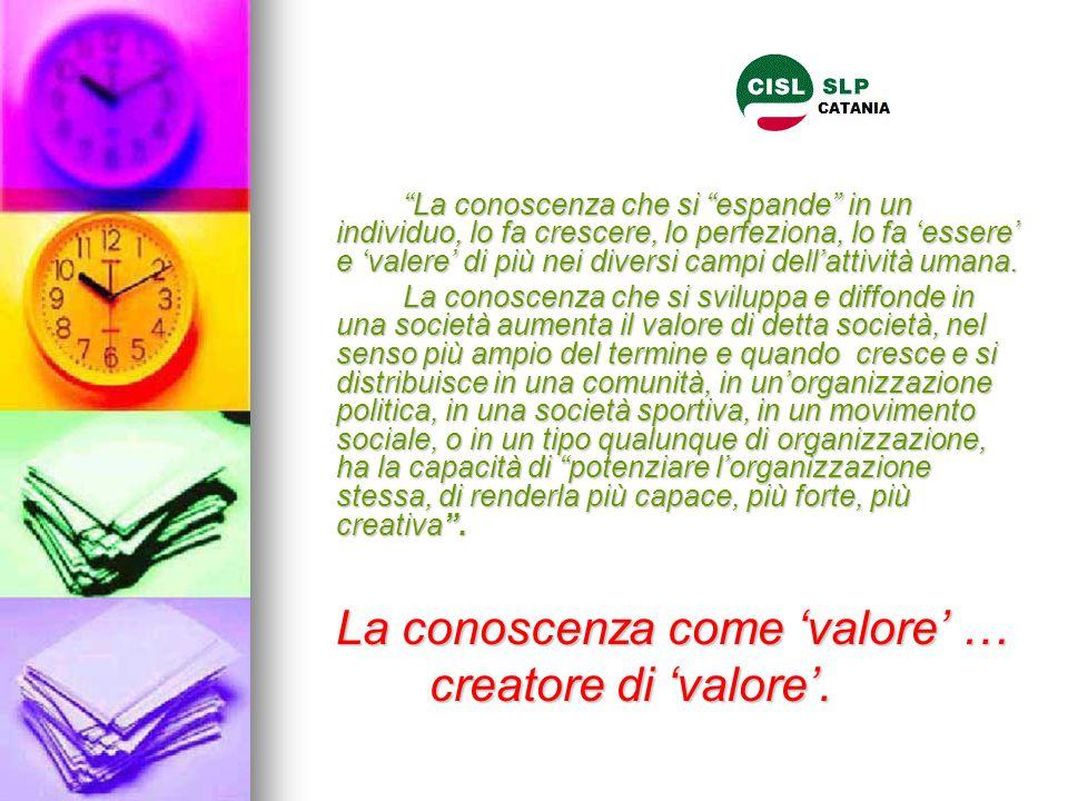 La conoscenza come 'valore' … creatore di 'valore'.